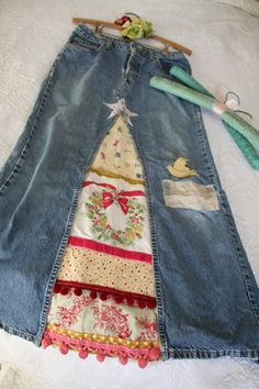 altered jeans Christmas skirt
