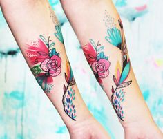 Abstract Flowers Tattoo by Bumpkin Tattoo​ | Tattoo No. 13334