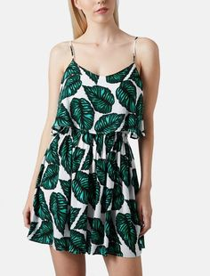 Leafy print dress works for any season.
