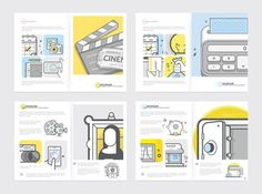 Brochure Collection. Set of four bi-fold print templates with concept icons.