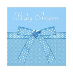 Elegant blue and white boys Baby Shower invitations with a cute blue and white spots ribbon and bow and a beautiful digital jewel heart. Text is fully customizable to meet your needs. These pretty invitations are illustrated on both sides. $1.90. Good volume discounts.
