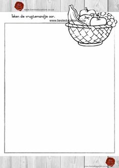 Teken die vrugtemandjie oor Kuns Graad 5 - www.besteducation.co.za Worksheets, Draw, Education, Words, Fruit, Literacy Centers, Paintings, To Draw, Educational Illustrations