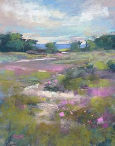 Romantic Nantucket Landscape Beach Roses Original Pastel Painting Karen Margulis 8x10