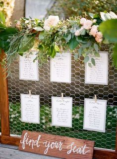 14 Backyard Wedding Decor Hacks for the Most Insta-Worthy Nuptials EVER via Brit. - - 14 Backyard Wedding Decor Hacks for the Most Insta-Worthy Nuptials EVER via Brit… 14 Backyard Wedding Decor Hacks for the Most Insta-Worthy Nuptials EVER via Brit + Co Festa Pin Up, Seating Cards, Seating Chart Wedding, Wedding Table Assignments, Table Seating Chart, Wedding Seating Display, Rustic Seating Charts, Seating Arrangement Wedding, Reception Seating Chart