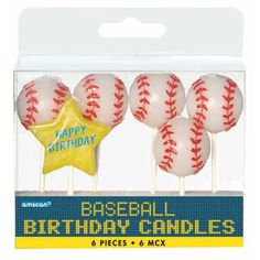 Baseball Pick Candles 3in