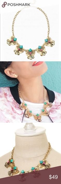 "Stella & Dot Devina Necklace The Devina combines intricate architectural design with warm pops of jade green, hot pink, and smoky glass.   Vintage gold plating.  17"" with 3"" extender.  Lobster clasp closure. Stella & Dot Jewelry Necklaces"