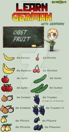 Learn German - Obst / Vegetables by TaNa-Jo on DeviantArt lernen, Study German, German English, Learn German, Learn French, German Language Learning, Learn A New Language, Spanish Language, French Language, Dual Language