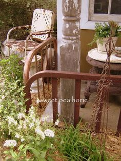 Old cast iron bed ends for railings