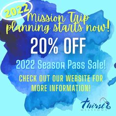 Start your 2022 Mission Trip Planning now with 20% Off through May 31, 2021! Check out our website for more information - www.thirstmissions.org or give us a call! #ThirstMissions #Alaska #Belize #Appalachia #PuertoRico #MissionTrip #YouthMissionTrip #YouthMinistry #Serve #Go Youth Ministry, Belize, Trip Planning, Puerto Rico, Alaska, How To Plan, Website, Check