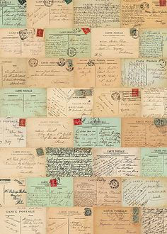 Vintage postcard wrapping paper