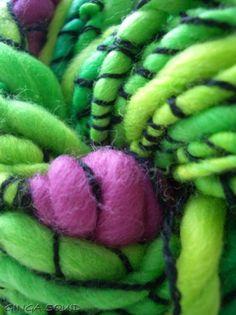 Berry Bush Handspun Art Yarn ginga squid