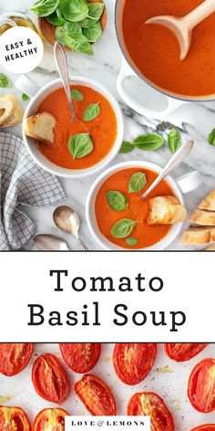 Cozy up with a bowl of homemade tomato basil soup! Fresh tomatoes and basil fill this tomato soup recipe with rich, savory flavor. It's simple, nourishing, and delicious. | Love and Lemons #soup #tomatosoup #basil #healthyrecipes