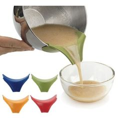 RSVP Silicone Slip-On Pour Spout   Direct the pour of wet or dry ingredients more accurately when you attach our slip-on pour spout onto any thin-lipped mixing bowl, pot, pan or jar. The wide lip and narrow spout will make many tasks easier. Made from dishwasher safe heat resistant silicone to 480 degree. Assorted colors. #kitchen #gadgets