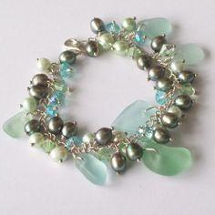 Seafoam Green Sea Glass Bracelet with Fresh Water Pearls and Crystals   FishPrincessDesigns - Jewelry on ArtFire