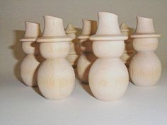 """5 Snowman 3"""" Turned Wood Unfinished - 5 Pieces"""