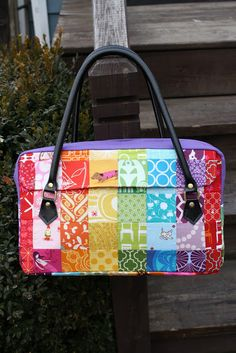 The Conversation Bag -- Sew Sweetness: Tutorial -- briefcase style patchwork bag with leather handles