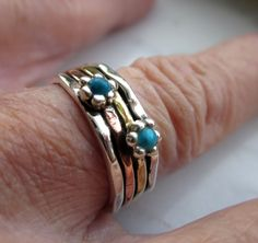 Sterling turquoise ring sterling stacking by artsandadornments