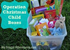 Operation Christmas Child boxes- cheap and easy ways to donate to children in need!  Shop now and save for Christmas.