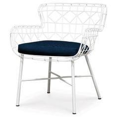 Chloe Modern Classic White Steel Outdoor Arm Chair | Kathy Kuo Home