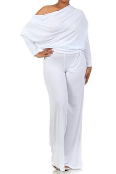 cd4f8b0fa8fb Shop Kami Shade  - Plus Size White Off The Shoulder Long Sleeve Jumpsuit