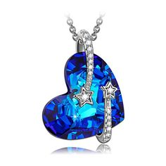 LadyColour Heart Sapphire Venus s925 Sterling Silver Pendant Necklace Made with Swarovski Crystals Christmas Gifts Birthday Gifts Valentines Gifts for Girls Women Review