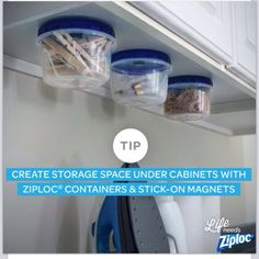 create storage space under cabinets using containers and stick on magnets