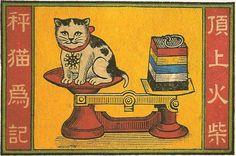 Asian vintage illustration of cat. Vintage Cat, Vintage Labels, Vintage Posters, Japanese Prints, Japanese Art, Asian Cat, Animal Gato, Matchbox Art, Ligne Claire