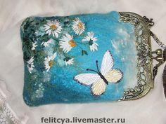 """Купить Кошелёк """"Солнечная бабочка"""" - кошелек с фермуаром, кошелек женский, кошелек, кошелек валяный"""