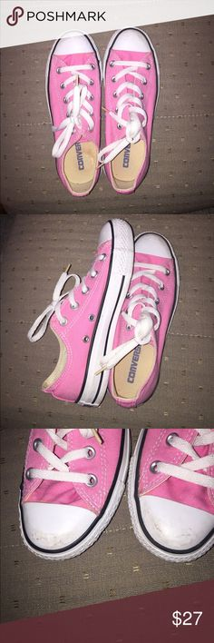 Women's Pink Converse Women's size 5.5. Small dirt on the tips of the shoes. Super cute light pink color, in great condition Converse Shoes Sneakers