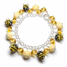 Lampwork glass 'Honey' bracelet featuring bee and honeycomb beads, by Laura Sparling