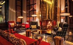 Cosy fire side seating at the Bar at Royal Palm Marrakech Interior Design Photos, Interior Design Inspiration, Royal Palm Marrakech, Marrakech Hotels, Marrakech Morocco, Beautiful Living Rooms, Beautiful Space, Hotel Lobby Design, Moroccan Room