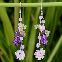 Pearl and peridot flower earrings - Floral Symphony - NOVICA
