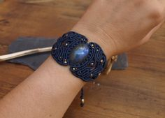 Macrame Bracelet Labradorite Moon stone macrame от BySinuhe
