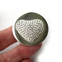 Stainless Steel Biagi Interchangeable Coin Pendant with Raised Crystal Heart, $49.00