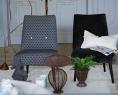 Designers Guild furniture launches Cassandra chairs upholstered here in graphite tones