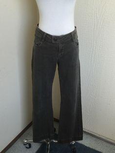 CAbi Size 4 181R Dirty Denim Flap Back Pocket Boot Cut Jeans Short #CAbi #Flare