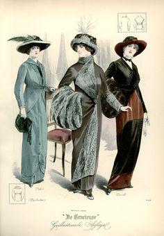 [De Gracieuse] No. 1. Tailleur-kostuum voor een jong meisje van gewerkte Engelsche stof. No. 2. Elegante mantel van effen fluweel. No. 3. Elegant fantasie-tailleurkostuum van laken en fluweel (February 1913)