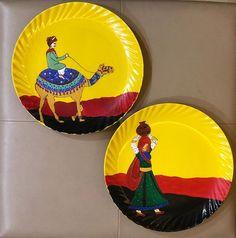 Hand Painted Walls, Hand Painted Plates, Plates On Wall, Rajasthani Painting, Rajasthani Art, Kerala Mural Painting, Madhubani Painting, Diy Canvas Art, Diy Wall Art
