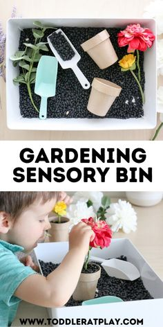 This Gardening Sensory Bin is a really fun one! It's super easy to set up and you can literally use anything you have around the house!  #sensoryplay #gardening #gardeningsensorybin #sensorybin