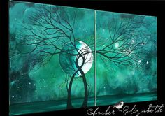 $140 Large Original Painting Jade Serenity Surreal Acrylic Canvas Art Amber Elizabeth Lamoreaux Trees Branches Stars Moon Green Night- acrylic paints, canvas, glossy varnish