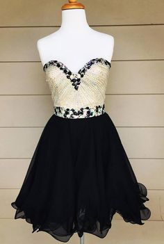 Black Chiffon Homecoming Dresses,Sparkly Beaded Bodice Short Prom