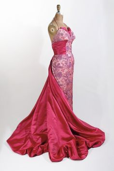 1950's Trained Silk Evening Gown, dress created with silk ribbon embroidery, trimmed in rose silk satin. From our Gallery Collection (Maire McLeod)