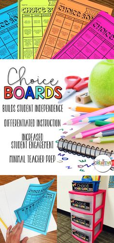 "Choice Boards are perfect for station and center time. These EDITABLE choice boards build student engagement, differentiated instruction and have minimal teacher prep. This differentiates the process of activities and therefor the ""process"" page 5 Student Centered Classroom, School Classroom, Classroom Ideas, Classroom Resources, Teacher Resources, Apple Classroom, Student Centered Learning, Flipped Classroom, Classroom Design"