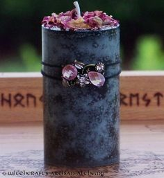 NOTT Mistress of Might Pillar Blót Candle for Seidr Witchcraft, Norse Goddess Dream Work, Heathen Ritual, Night Magic, Victory, Wyrd Working by ArtisanWitchcrafts, $23.95