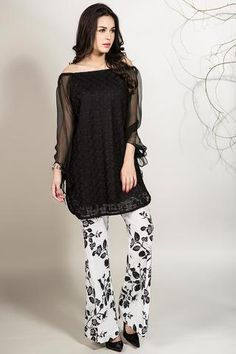 Latest Pakistani Dresses with Bell Bottom Boot cut Pants Trend Trend includes designer short peplum tops, shirts, tunics, frocks, with bell bottoms Stylish Dress Designs, Stylish Dresses, Casual Dresses, Casual Wear, Latest Pakistani Dresses, Pakistani Outfits, Pakistani Clothing, Indian Dresses, Indian Outfits