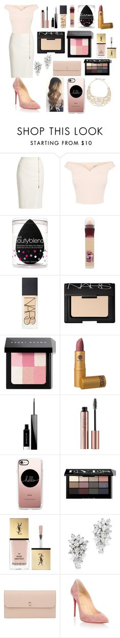 """""""Night club !!"""" by lovepink75 ❤ liked on Polyvore featuring MaxMara, beautyblender, Maybelline, NARS Cosmetics, Bobbi Brown Cosmetics, Givenchy, Casetify, Yves Saint Laurent, Valextra and Christian Louboutin"""