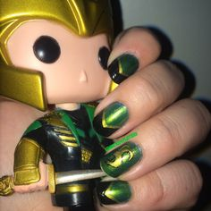 Burdened by Glorious Purpose and Fabulous Nails- Loki Nail Art | Wicked Splatters