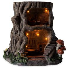 Two-Story Lighted Fully-Furnished Tree Stump Fairy Dream House In Weather-Resistant Resin, - Hearthsong : Target Construction Minecraft, Kobold, Diy Bird Feeder, Fairy Tree, Gnome House, Fairy Garden Houses, Tree Stump, Miniature Fairy Gardens, Miniature Houses