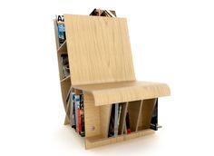 Bookseat chair and bookshelf