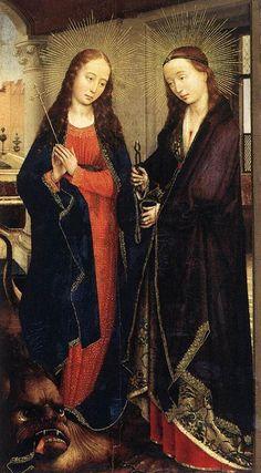 Sainte Marguerite et sainte Apolline foulant le démon.  Rogier van der Weyden. Flandres. XVe.
